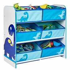 DINOSAURS 6 BIN STORAGE UNIT MDF KIDS BEDROOM STORAGE FOR GAMES TOYS BOOKS NEW