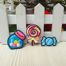 3pcs Embroidered Iron Sew On Patch Badge Sweet Candy Bag Kid Fabric Applique DIY
