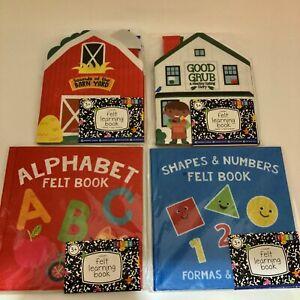 Felt Learning book, Shapes & Numbers, Good Grub, Barn Yard Sounds, alphabet, new
