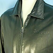 Jose Cuervo Mens XXL Black Leather Jacket Roots Canada Custom Made Butter Soft