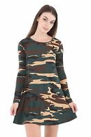LS1 Ladies Womens girls  Army print swing skater   dresses top dress 8 to 26
