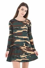 LS1 Ladies Womens girls  Army print swing skater   dresses top dress 8 to 26
