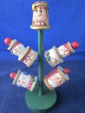 EDDIE WALKER Christmas Thimble Tree SEW SWEET Angel 3 Snowmen 3 Santas