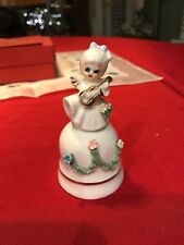 Vintage Angel Playing Instrument Bell Figurine Gold & Spaghetti Trim