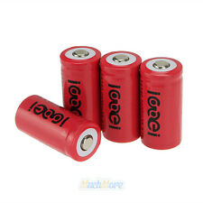4x 3.7V CR123A 123A CR123 16340 2400mAh Red Rechargeable Battery Cell US Ship