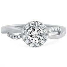Womens Halo Promise Ring Sterling Silver Cubic Zirconia