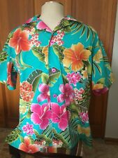 """Hibiscus Blossoms"" SOMETHING FISHY SHIRT, Large, Cotton, Hawaiian, Tropical"