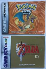 GAMEBOY COLOR ZELDA LINK'S AWAKENING & GBA POKÉMON FIRE RED MANUAL INSTRUCTIONS