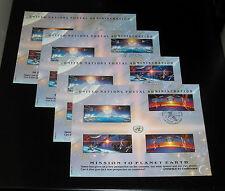 U.N.#Sc41, 1992 , Mission/ Earth,Complete Set/ 4 Souvenir Cards Nice! Lqqk!