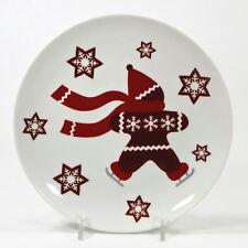 "Crate & Barrel SKATING GINGERBREAD 7"" Dessert Plate Red Brown Christmas 362-743"