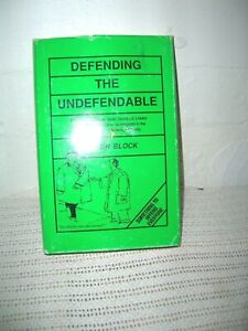 Defending the Undefendable By Walter Block Signed HC DJ 1991 Edition TERRIFIC!