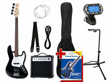 Electric Bass Guitar Amplifier Strings Jack Cable Tuner Support Stand Bag Set