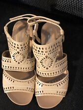 "Sandals, NATURALIZER N5 COMFORT, beige lazer cutouts, 2 1/2"" wedge, SZ: 7M"