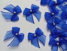 "1"" (W) Royal Blue Organza Ribbon Bows w/ Bead-50 pcs-Crafts / Appliques-R0120DR"