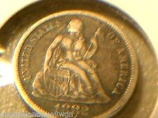 """1882 Seated Liberty Dime Love Token W/Initials """"ghg"""""""