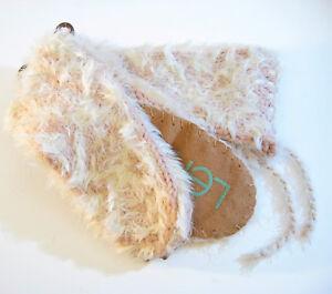 Lemon Ladies Shaggy Knit Mukluk Slipper Socks Silver Strawberry Pink Suede Soles