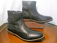 Ben Sherman leather Captoe Derby Zip up Buckle Boots Men's Sz 10 D / 9 UK