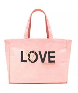 Victoria Secret Limited Edition Sequin Pink Love Tote School Hand Bag NEW