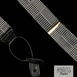 THE REGENT Suspenders in Black Gray Glen Plaid Silk Leather Tabs Brass ENGLAND