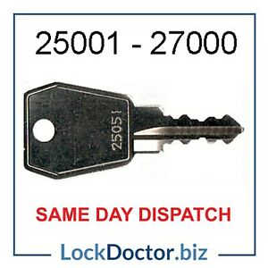 Replacement Keys 25001-27000 (Thule/Rhino Pipe Tube/Bisley) **FREE 48HR TRACKED*