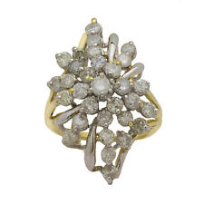 14K Yellow Gold Diamond Cluster Ring  1.00ct  Size 8.5