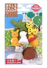 Iwako Erasers Blister Pack Japanese Erasers Wild & Safari Animals set
