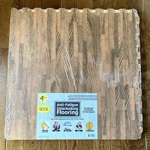 "8Pk Wood Grain Foam Tiles 24""Interlocking Puzzle Gym Floor Fatigue Mat 32 Sqft"