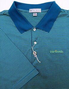 PETER MILLAR Men's XXL Isleworth Blue Green Striped Golf Polo Cotton NWOT
