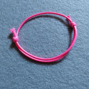 Adjustable Pink Wax Cotton Slide Cord Bracelet UK
