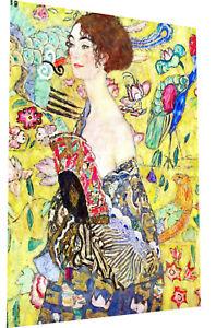 "gustav klimt Framed Canvas Print Art Painting 24"" x 12"" lady woman fan vintage"