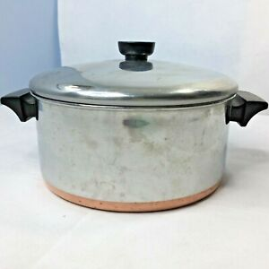 Vintage Revere Ware 1801 4 1/2 Qt Stock Pot Lid Copper Clad Made in USA