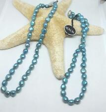 """NEW HONORA BAROQUE FRESHWATER CULTURED PEARL NECKLACE 9MM LIGHT TEAL  18"""" NEW"""