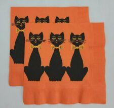 Vintage Halloween Black Cat Paper Dinner Napkin Reed's Rembrandt Set of 2