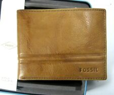Fossil Bifold Men's Watts With Flip ID Leather Wallet ML3817222 Cognac New NIB