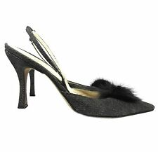 Rene Caovilla Black Denim and Mink Detail Slingback Heels Size 39