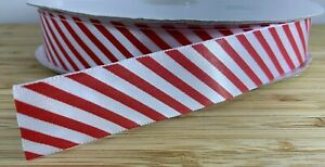 Candy Cane Red & White Striped Ribbon SOLD PER METER 25mm Birthday Christmas Bow