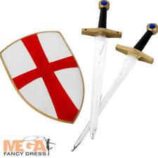Knight Crusader Set Mens Fancy Dress St George Shield & Sword Adults Costume Kit