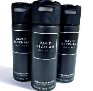 3x David Beckham Instinct Deodorant Spray for men, 150ml