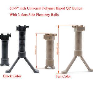6.5-9'' inch Black/Tan Ultralight Polymer Bipod QD Button 3 slot Picatinny Rails