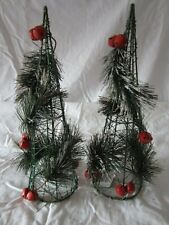 """Two 13"""" Artificial Wire Cone Shape Pine Red Jingle Bell Table Top Xmas Tree"""