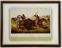 Vintage Currier & Ives Life on the Prairie Framed Bookplate Print 9x7
