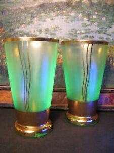 Art Deco Gold & Green glass Uranium Drinking Glasses 1920/30s