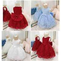 Baby Girls Flower Princess Dress Kids Embroidered Birthday Party Bow Tutu Dress