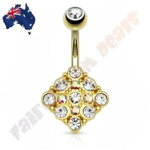 Gold Ion Plated Diamond Shape Belly Ring with Clear Aurora Borealis Gems