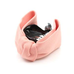 Elegant Bow Hair Claw Cloth Fabric Ties Banana Hair Crab Clip Ponytail Holder@