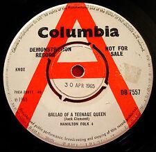 "Hamilton Folk 4/Four Ballad Of A Teenage Queen 7"" UK DEMO 1965 Columbia VINYL"