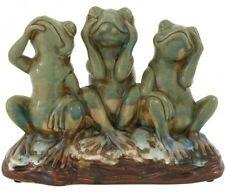 Frog Statue Decorative Home Garden Ceramic Rustic Speak See Hear No Evil