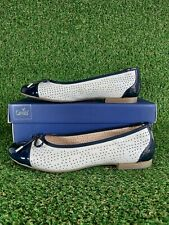 Women's Caprice Dolly Bow Slip On Loafers Leather White And Blue Size 6.5 UK