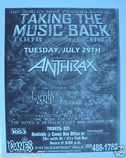 """Anthrax /Lamb Of God """"Taking Back The Music Tour 2003"""" San Diego Concert Poster"""
