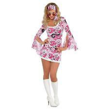 Ivanna GoGo 60's Hippy Hippie Costume Flower Power Fancy Dress Womens 14-16